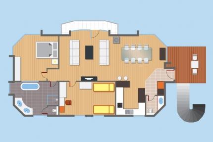 Übersichtsskizze Appartement Wasserlilie – Seevilla Cattina – Appartements direkt am Millstätter See in Kärnten